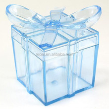 Baby shower favor Clear square gift box with bow plastic favor party favor