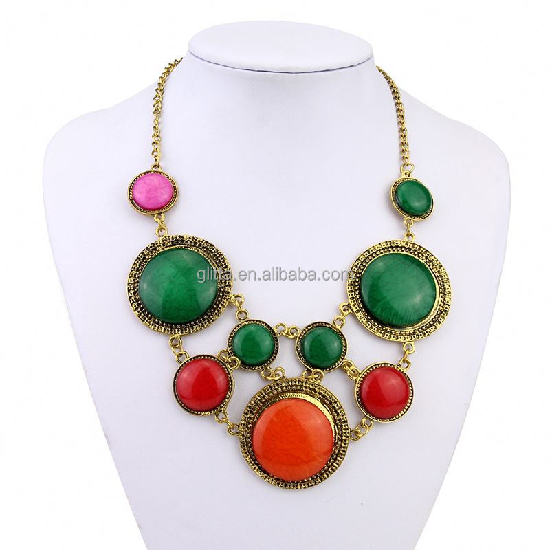 Glitta New Arrival vintage statement necklace amber teething necklace GL15210