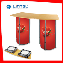 Good price acrylic shelf counter wooden top board display table with Long Service Life