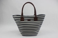 casual meidum-sized denim stripe cavas summer beach tote bag for ladies