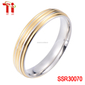Stainless steel gold ring 6mm wide 1.5mm indirect plating gold stainless steel jewelry