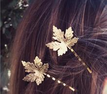Bohemia style metal silver and rose gold colors maple leaf hair clip for women hair decorate plant maple leaves hair jewelry