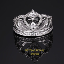 SAR7006 Exquisite Princess Crown Cubic Zirconia 925 Sterling Silver Wedding Ring