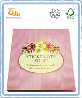 Colorful 5 Decorated Sticky Pads in 3 Assorted Sizes Sticky Note Paper