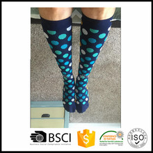 200 needle count below Knee High colourful dots compression socks