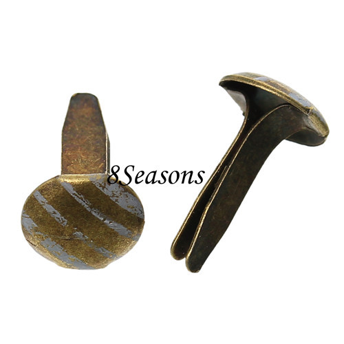 Round Antique Bronze Stripe Pattern Metal Brads Nails For Scrapbooking DIY Making