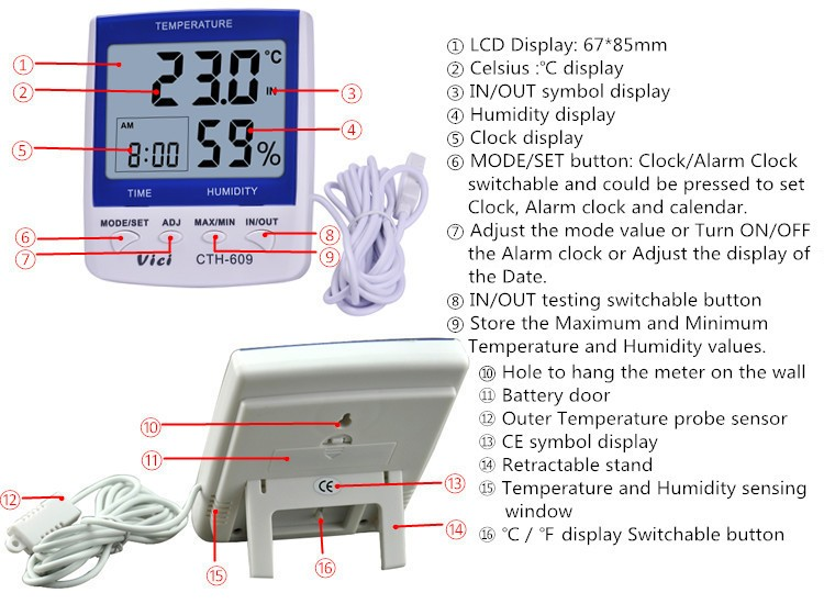 CTH-609 Indoor outdoor digital hygrometer thermometer for greenhouse
