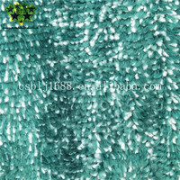 Green Mixed White Color Microfiber Machine Knitted Coral Fleece Mop Fabric