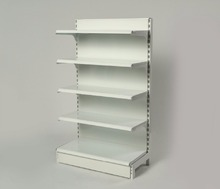 Commercial metal gondola shelving for goods display