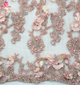 Latest factory handwork 3D lace fabric flower beaded lace fabric for wedding dresses ladies dresses embroidery