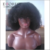 Cheap 4C afro kinky curl full ace wig with bangs for black woman