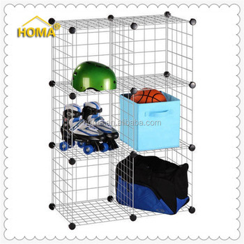 6cubes sheet metal wire display storage rack for hanging items