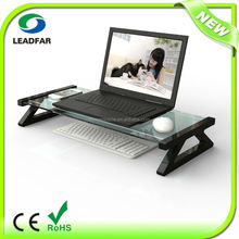 Practical detachable desktop computer stand with tempered glass