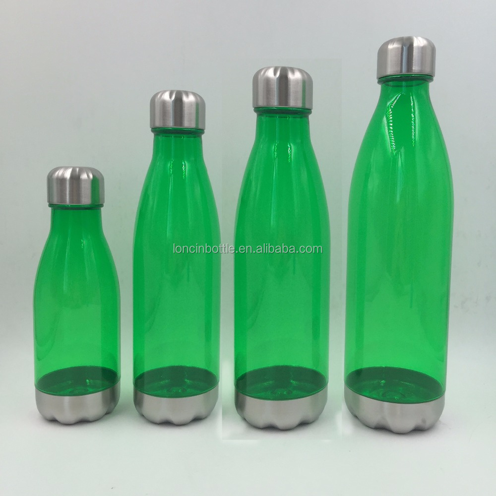 BPA Free Tritan Cola Shaped Sport With Non Leak Twist Cap,Plastic Water Bottle With Metal Bottom And Lid