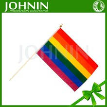 Plastic pole wholesale polyester cheap handheld rainbow flag