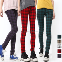 Autumn Winter ladies Cotton Plaid Pants,plus Size Strong Stretch plaid Pencil Pants,women plaid pants trousers