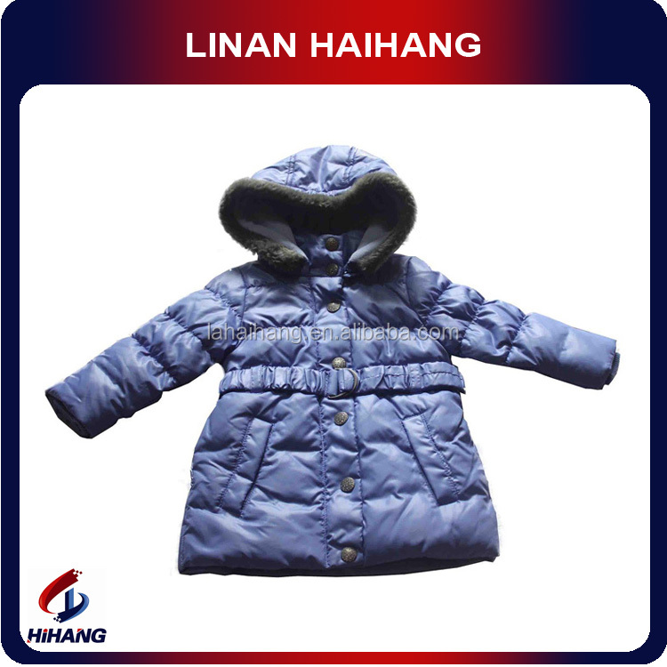 high quality wholesale hooded belt kids winter collection manufacturer