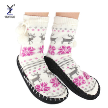 Adult cosy non slip knitted slipper rubber soles socks/slipper cartoon adult with pompom