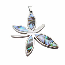 Natural Abalone Shell Dragonfly Butterfly Cross Pendant Jewelry Black Abalon Shell Pendant Stainless Steel HPYP2839