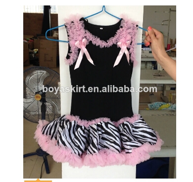 New zebra fashion little girl puffy ruffle chiffon dress bulksale boutique children girl dress design small teenage dress design