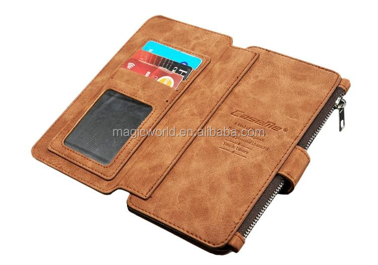 Best Quality Leather Wallet Case With Detachable Slim Case For iPhone 7