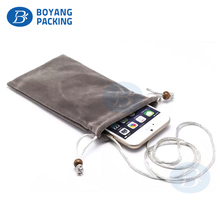 High quality custom logo velvet fabric cell phone pouch mobile phone bag