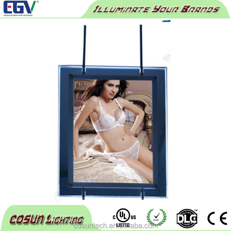 Window display illuminated led light photo frame crystal picture sign box
