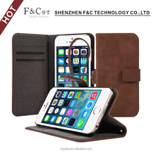 Vintage Genuine Leather Folio Flip Corrected Grain Leather Case for iphone 6/6s Wallet Style with Magnetic closure