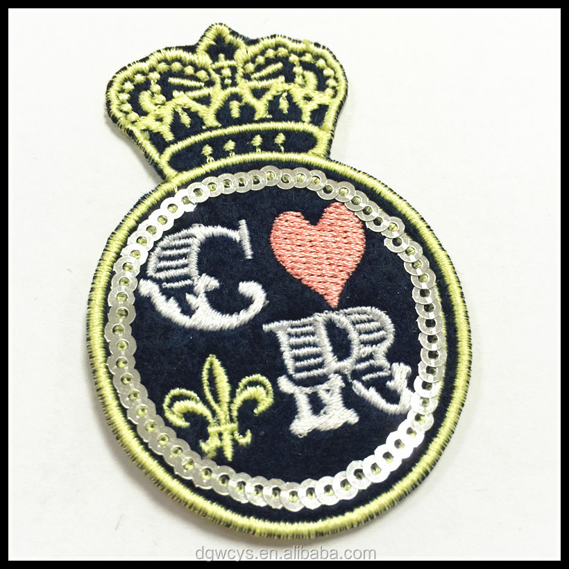 Sequin bead sew on the woven patch, embroidery band logo woven badge iron on the garment