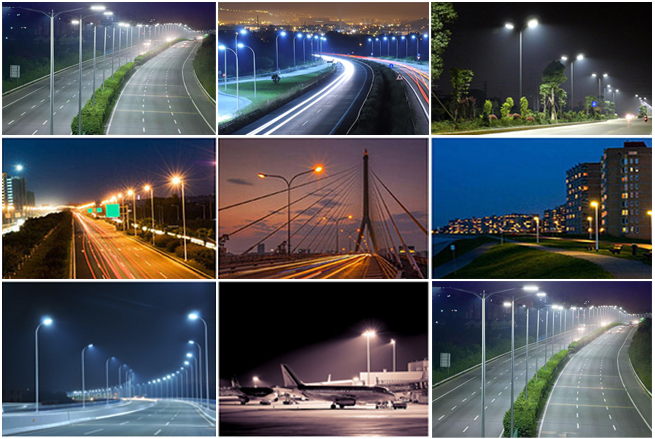 High efficiently super bright aluminum 150w cob led street light