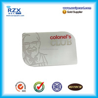 CR80 custom size plastic material PVC transparent visiting business card