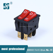 Approved UL TUV 10A Momentary Electric DPDT Rocker Switch 250V T125 With Light