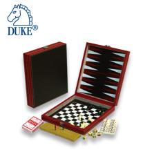 7 In 1 Chess, Backgammon, Playing Cards & Chessmen Game Set in PVC Leather Case