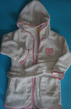 Cheap Wholesale Kids white Polyester Fleece Bathrobe for Children