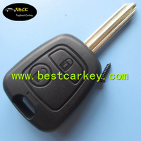 Best price 2 buttons car key replacement for key peugeot peugeot key case with X type blade