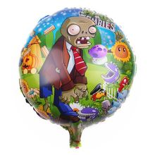 Hot sell aluminum 18inch cartoon plant war zombies metallic helium foil game balloon for baby boy toys