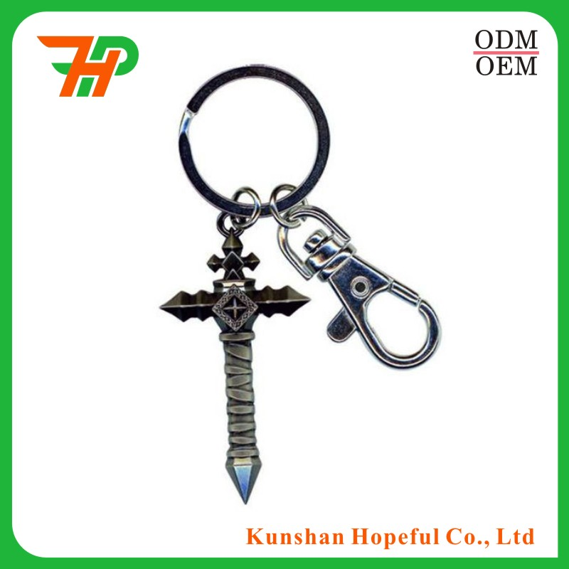 Custom mini WOW dota LOL game weapon metal keychain
