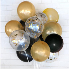 Transparent round latex balloon 12 inch gold confetti balloon for weddings