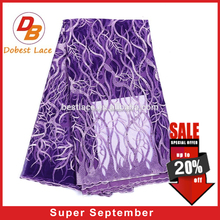 Embroidered purple soft thick african tulle lace fabric for wedding dress