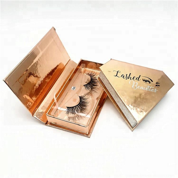 5d4969404c5 real mink eyelashes 3d false mink eye lashes rose golden diamond shape  glitter custom eyelash packaging box