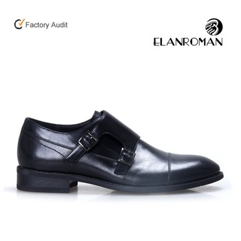 Fashion double monk-strap soft leather men dress shoes formal shoes