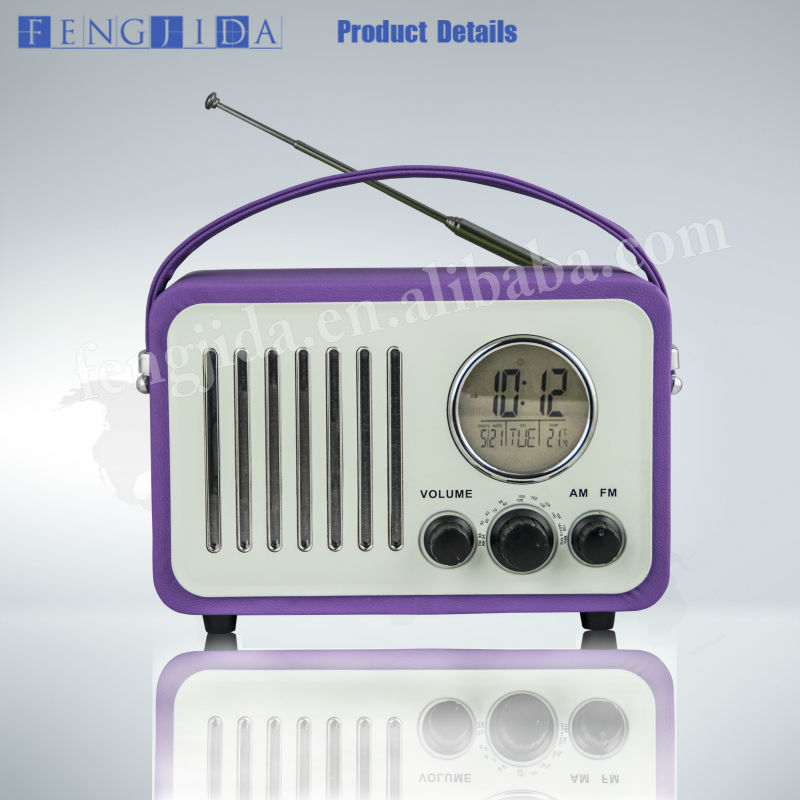 Leather Portable Radio With rechargeable battery
