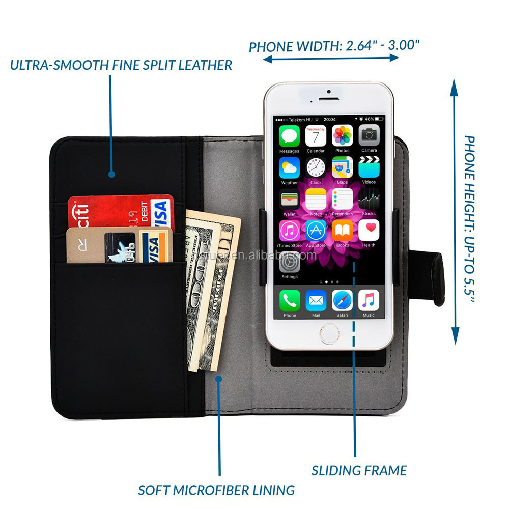 Manufacturer Wholesale With Card Solts Clip On Flip Wallet Style Universal Phone Case for 3.5'' 4'' 4.5'' 5'' 5.5'' Smart Phone