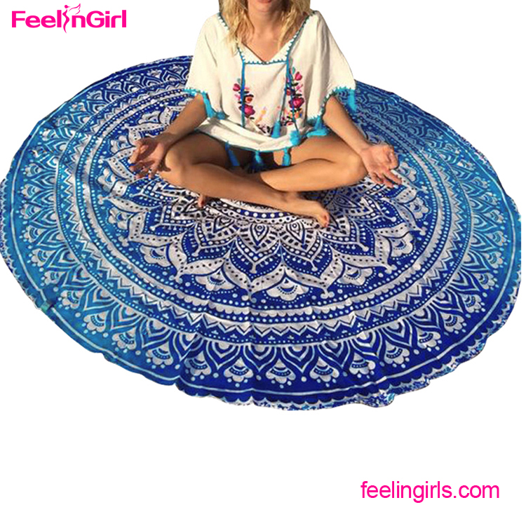 Wholesale turkish 143cm blue mandala printed round custom beach <strong>towel</strong>