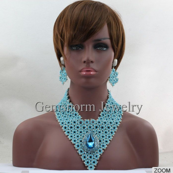Latest jewelry handmade african crystal beads jewelry high quality for nigerian wedding women GWH0005
