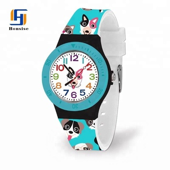 Best Promotional OEM Fashion Design Print Silicone Quartz Kids Wrist Watch With Full Color Printed
