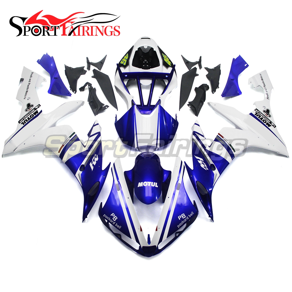 Full Fairings For Yamaha YZF <strong>R1</strong> 04 05 06 ABS Plastic Injection Motorcycle Fairing Kit Body Kits FIAT The Doctor 46 White Blue