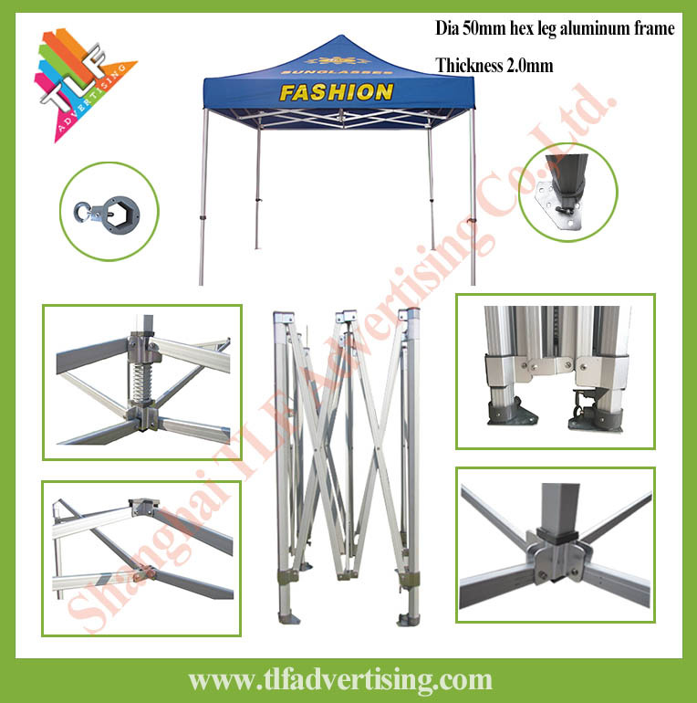 10x10 Heavy Duty Hex 50 Aluminum Outdoor Folding Canopy Tent Frame