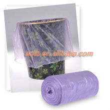 Purple color HDPE/LDPE Garbage Bag for daily use on roll