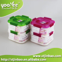 Wholesale 2 Tier Sealable Plastic Compartment Boxes for Food With Lid and Handle